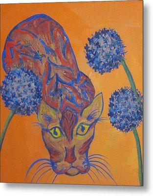 Orange Cat Metal Print by Cherie Sexsmith