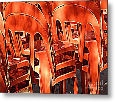 Metal Print featuring the digital art Orange Chairs by Valerie Reeves
