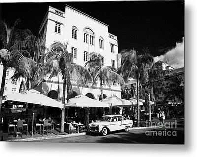 Orange Chevrolet Bel Air In The Cuban Style Outside The Edison Hotel Metal Print by Joe Fox