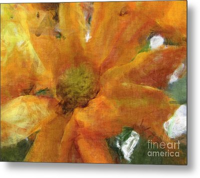 Orange Chrysanthemem Photoart Metal Print by Debbie Portwood