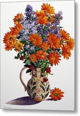 Orange Chrysanthemums Metal Print