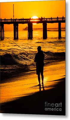 Orange County California  Sunset Fishing Picture Metal Print