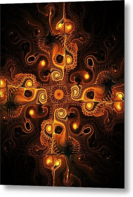 Orange Cross Metal Print