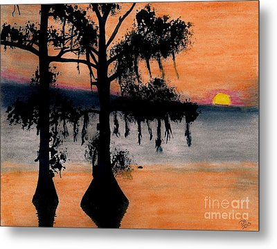 Metal Print featuring the drawing Orange Cypress Sunset by D Hackett