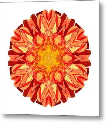 Orange Dahlia II Flower Mandala White Metal Print