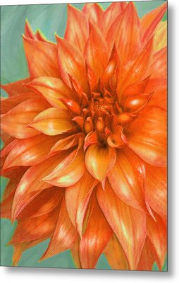 Metal Print featuring the digital art Orange Dahlia by Jane Schnetlage