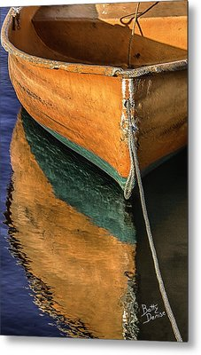 Metal Print featuring the photograph Orange Dinghy In Warm Sun by Betty Denise