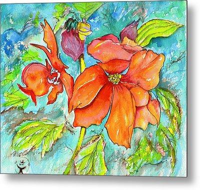 Orange Fire Flower Metal Print