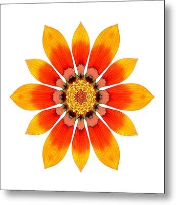 Orange Gazania I Flower Mandala White Metal Print
