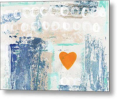 Orange Heart- Abstract Painting Metal Print