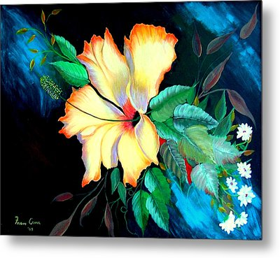 Metal Print featuring the painting Orange Hibiscus by Fram Cama
