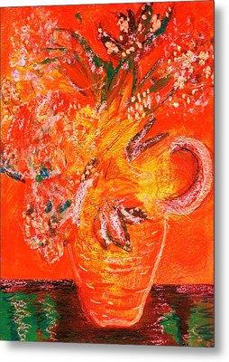 Orange Impressionistic Vase Of Flowers Metal Print by Anne-Elizabeth Whiteway