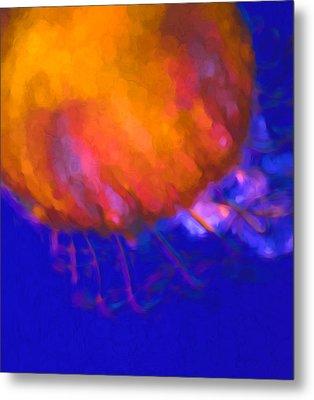 Orange Jellyfish Ocean Art   Metal Print by Priya Ghose