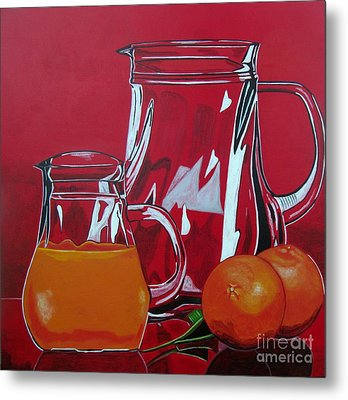Orange Juggle Metal Print by Sandra Marie Adams