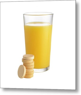 Orange Juice And Vitamin C Tablets Metal Print by Science Photo Library