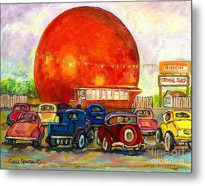 Orange Julep With Antique Cars Metal Print by Carole Spandau