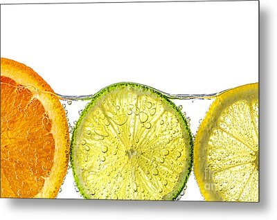 Orange Lemon And Lime Slices In Water Metal Print by Elena Elisseeva