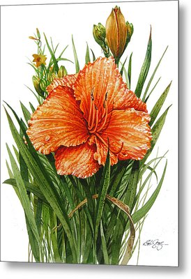 Metal Print featuring the painting Orange Lily by Bob  George