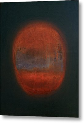 Orange Orb Metal Print