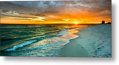 Orange Panoramic Sunset Metal Print