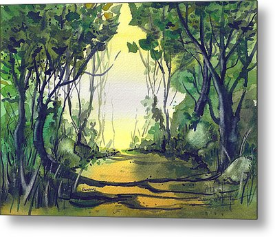 Metal Print featuring the painting Orange Path by Terry Banderas