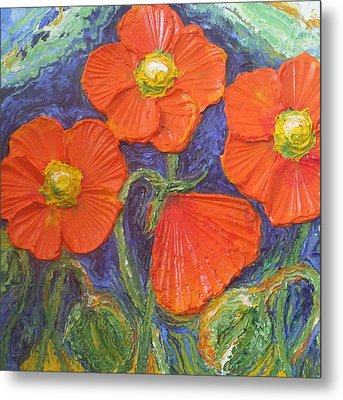 Orange Poppies Metal Print by Paris Wyatt Llanso