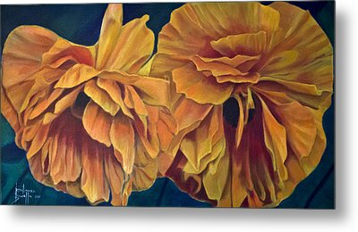Metal Print featuring the painting Orange Poppies by Ron Richard Baviello