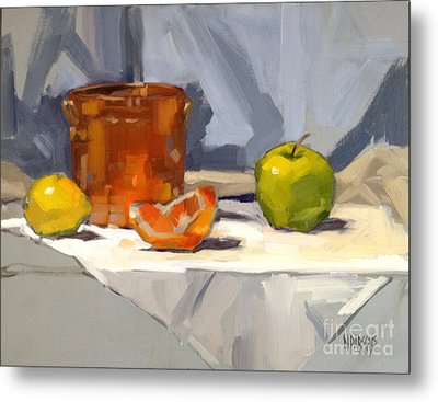 Metal Print featuring the painting Orange Reflections by Nancy  Parsons