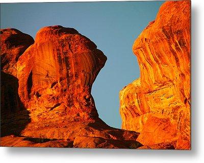 Orange Rock Foreground A Blue Sky Metal Print