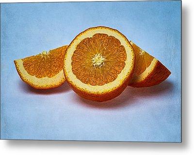 Orange Sliced Metal Print by Alexander Senin