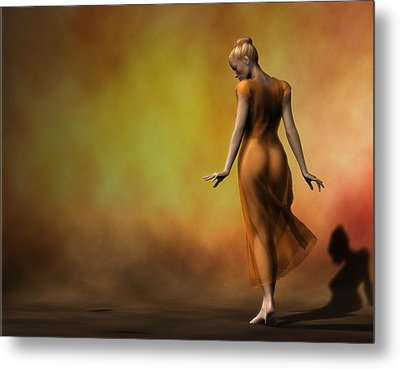 Metal Print featuring the digital art Orange Strut by Kaylee Mason