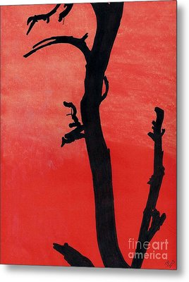 Metal Print featuring the drawing Orange Sunset Silhouette Tree by D Hackett