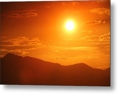 Metal Print featuring the photograph Orange Sunset Over Mountains by Tracie Kaska