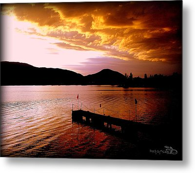 Metal Print featuring the photograph Orange Sunset Skaha Lake by Guy Hoffman