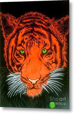 Metal Print featuring the drawing Orange Tiger by Justin Moore