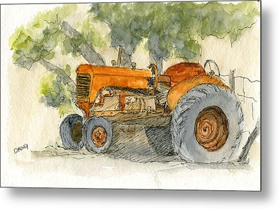 Orange Tractor Metal Print