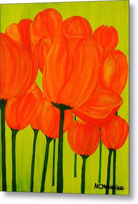 Orange Tulip Pops Metal Print by Celeste Manning