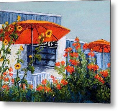 Orange Umbrellas Metal Print by Candy Mayer