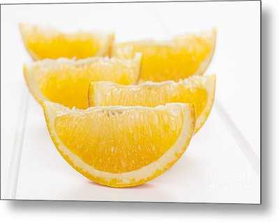 Orange Wedges On White Background Metal Print