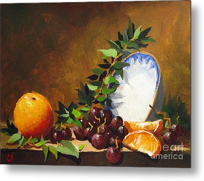 Orange With Bowl Metal Print