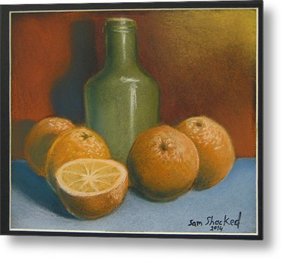 Metal Print featuring the pastel Oranges And A Wine Jug by Sam Shacked