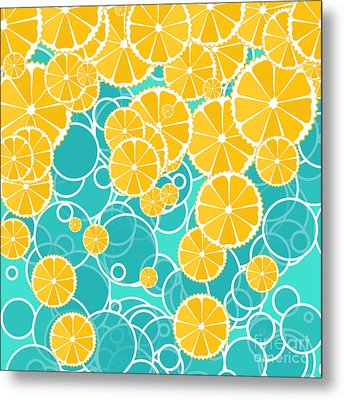Oranges And Bubbles Metal Print by Gaspar Avila