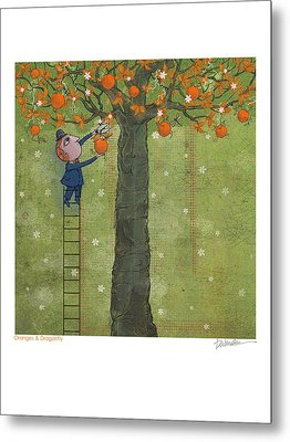 Oranges And Dragonfly One Metal Print by Dennis Wunsch