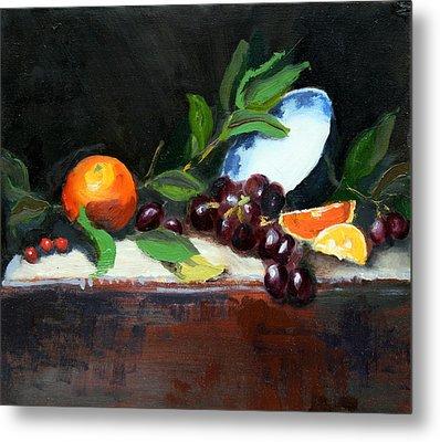 Oranges And Grapes Metal Print