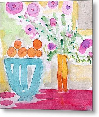 Oranges In Blue Bowl- Watercolor Painting Metal Print by Linda Woods