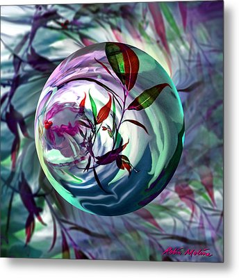 Orbiting Cranberry Dreams Metal Print by Robin Moline