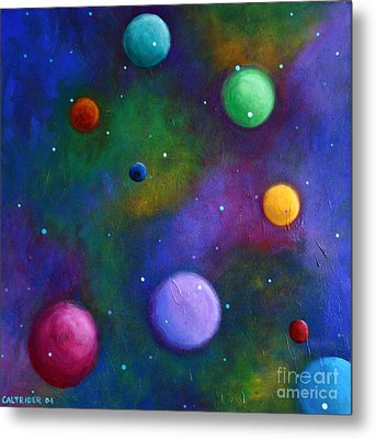 Metal Print featuring the painting Orbs In Space by Alison Caltrider