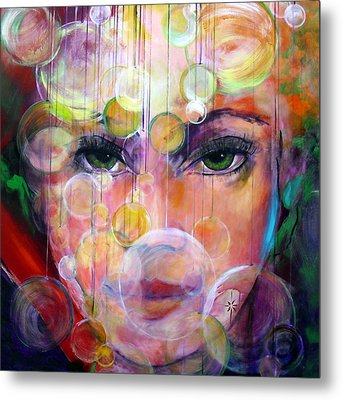 Metal Print featuring the painting Orbs by Jodie Marie Anne Richardson Traugott          aka jm-ART
