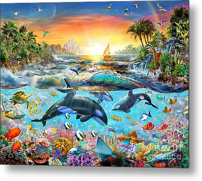 Orca Paradise Metal Print