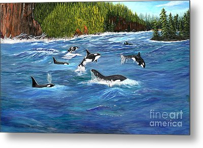 Orcas Metal Print by Myrna Walsh